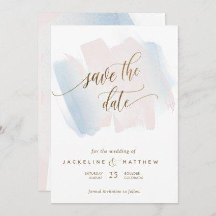 Blue and Blush Brush Strokes, Minimal Wedding Save The Date
