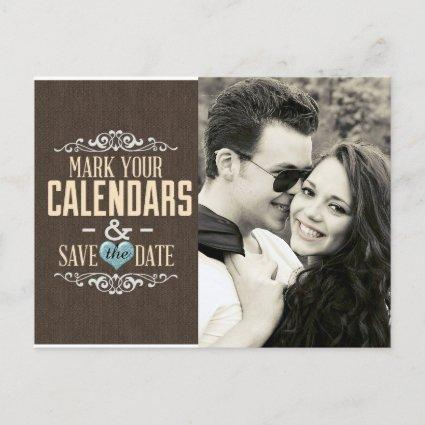 Blue and Brown Lace Save the Date with Hearts Announcements