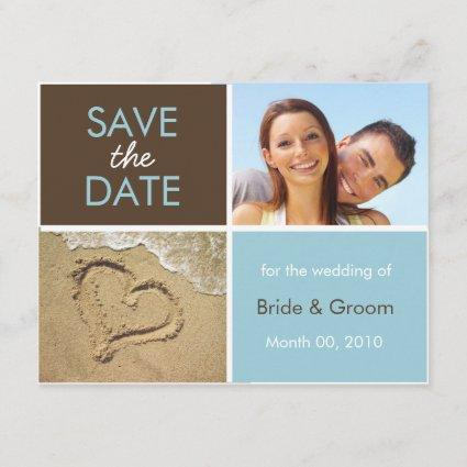 Blue and Brown Save the Date Photo