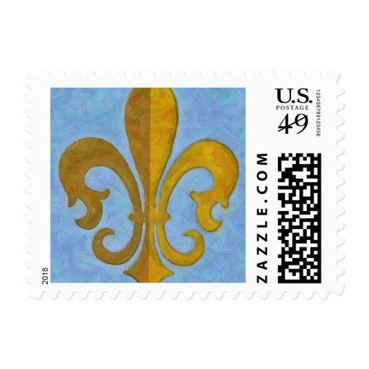 Blue And Gold Fleur De Lis Postage Stamps Save The Date Cards