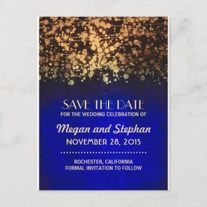 blue and gold vintage string lights save the date announcement