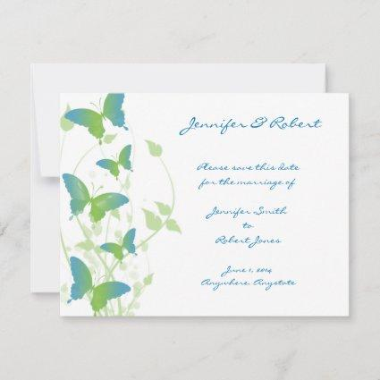 Blue and Green Butterfly Vine Save the Date