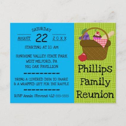 Blue and Green Picnic Basket Family Reunion Invitation