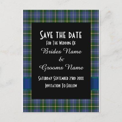 Blue and green tartan plaid save the date announcement