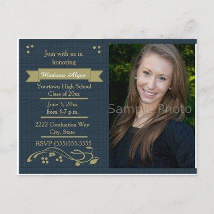 Blue and Moss Green Photo Graduation Party Card