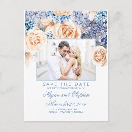 Blue and Peach Floral Watercolors Save the Date Announcements Cards