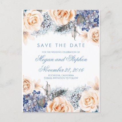 Blue and Peach Flowers Watercolor Save the Date Announcements Cards