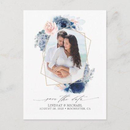Blue and Pink Flowers Save the Date Photo Announcement