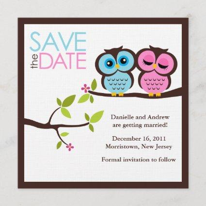 Blue and Pink Owls Wedding Save The Date
