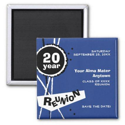 Blue and White 20 Year Class Reunion Magnet