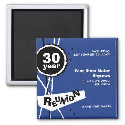 Blue and White 30 Year Class Reunion Magnet