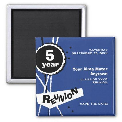 Blue and White 5 Year Class Reunion Magnets