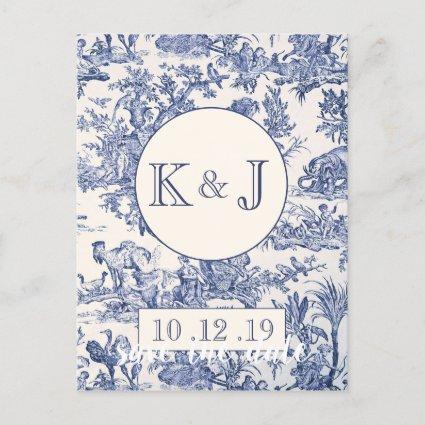 Blue and White Toile Announcement