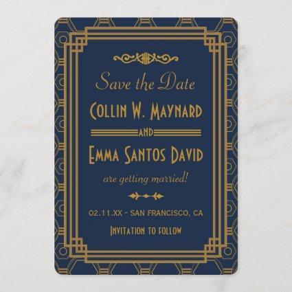 Blue Art Deco Wedding Save The Date