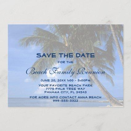 Blue Beach Palm Tree Family Reunion Save The Date