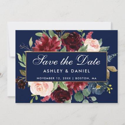 Blue Burgundy Floral Gold Save The Date