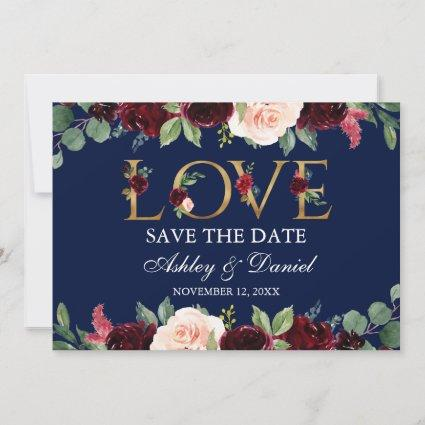 Blue Burgundy Watercolor Floral Love Save The Date