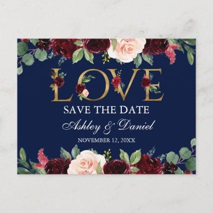 Blue Burgundy Watercolor Floral Love Save The Date Announcement