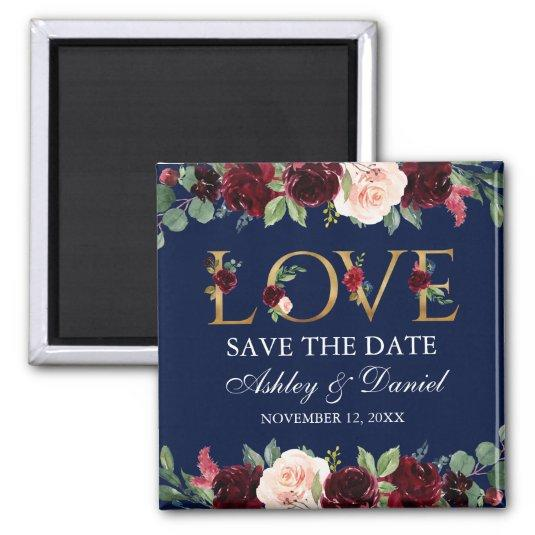 Blue Burgundy Watercolor Floral Love Save The Date Magnets