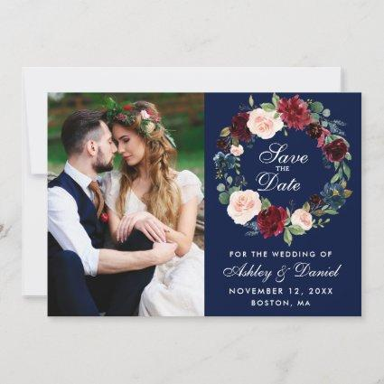 Blue Burgundy Watercolor Floral Wreath Wedding Save The Date