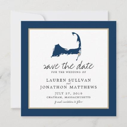 Blue Chatham Cape Cod Map Wedding Save the Date