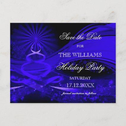 Blue Christmas tree Holiday Party Save The Date Announcements Cards