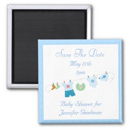 Blue Clothesline Save The Date Baby Shower Magnet