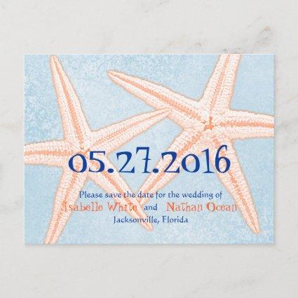 Blue Coral Starfish Save the Date Cards