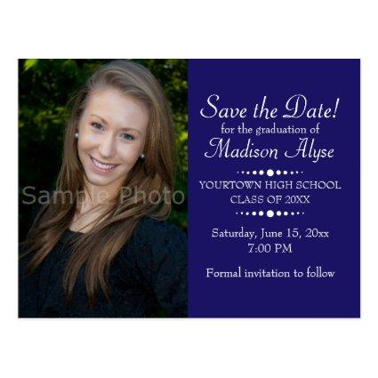 Blue Custom Photo Graduation Save the Date Cards
