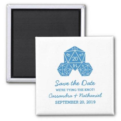 Blue D20 Dice Save the Date Magnet