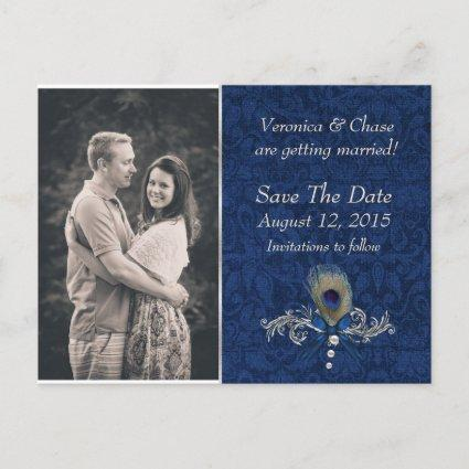 Blue Damask and Peacock Feather Save The Date Announcement