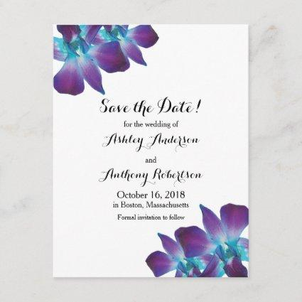 Blue Dendrobium Orchid Wedding Save the Date