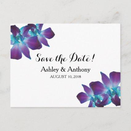 Blue Dendrobium Orchid Wedding Save the Date Announcement