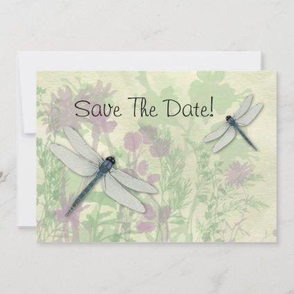 Blue Dragonflies Save The Date