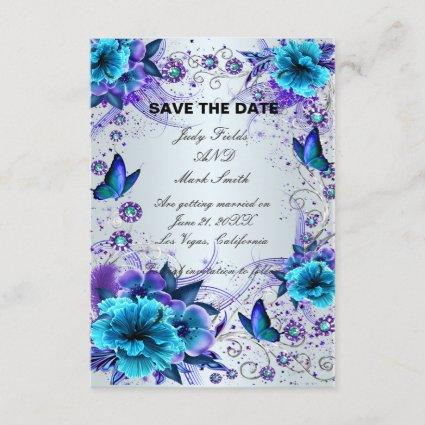 Blue Floral And Butterfly Save The Date Cards