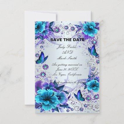 Blue Floral And Butterfly Save The Date Card