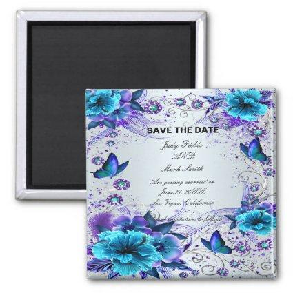 Blue Floral And Butterfly Save The Date Magnet