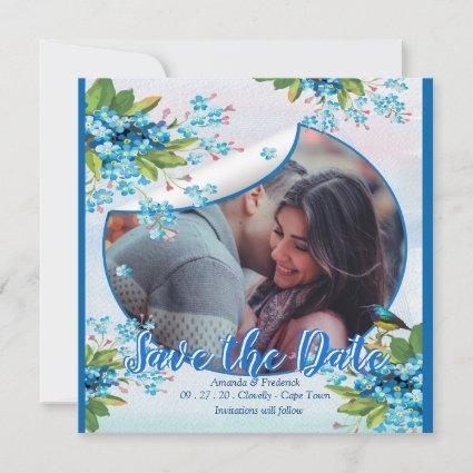 Blue Forget-me-not Flower Save the dates Save The Date