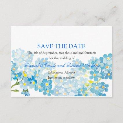 Blue Forget Me Not's Save the Date Garden Wedding