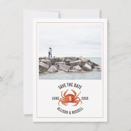Blue Gingham Crab Rustic Wedding Photo Save The Date