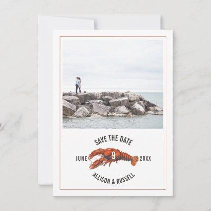 Blue Gingham Lobster Rustic Wedding Photo Save The Date