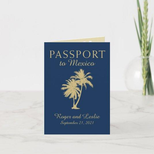 Blue Gold Cabo San Lucas Mexico Wedding Passport Invitation