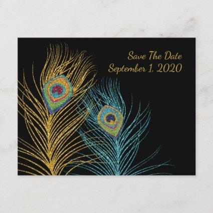 Blue Gold Glitter Peacock Feather Save The Date