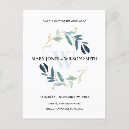 BLUE GOLD WATERCOLOR FOLIAGE WREATH SAVE THE DATE ANNOUNCEMENT