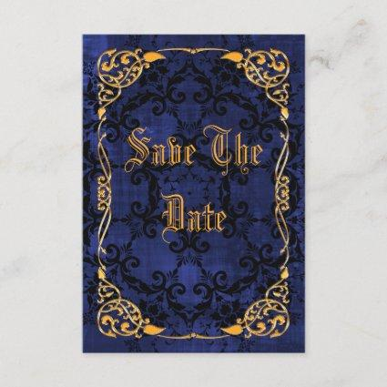 Blue Gothic & Gold Framed Sweet 16 Save The Date