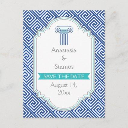 Blue Greek key and column wedding Save the Date Announcement