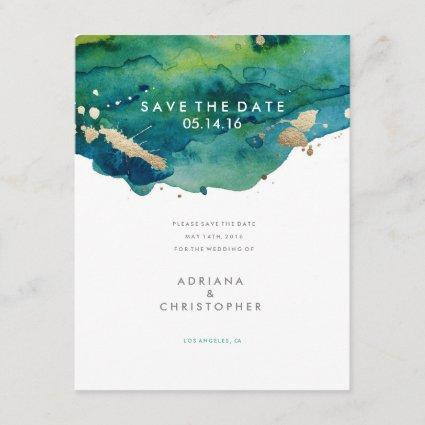 Blue Green and Gold Splatter Wedding Save the Date