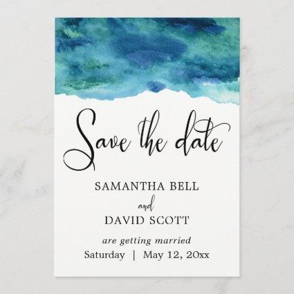 Blue Green Aqua Watercolor Modern Save the Date 1
