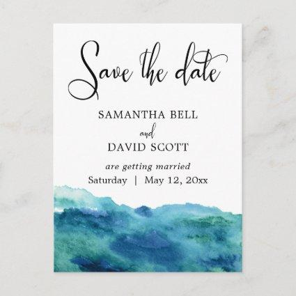 Blue Green Aqua Watercolor Modern Save the Date 2 Announcement
