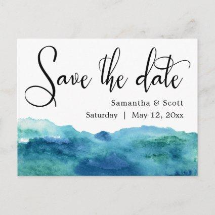 Blue Green Aqua Watercolor Modern Save the Date 3b Announcement